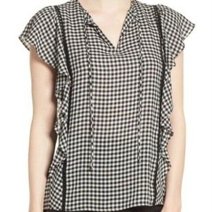 Nordstrom Signature Black White Plaid Flutter Top